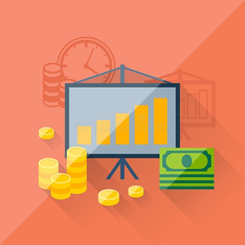 Concetto dell'illustrazione degli investimenti nella progettazione piana illustrazione di stock