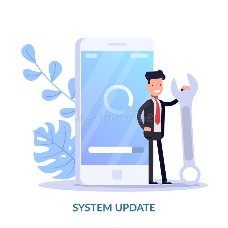 Concetto dell'illustrazione di vettore dell'aggiornamento del sistema Il sistema di esercizio dell'aggiornamento della gente del  illustrazione di stock