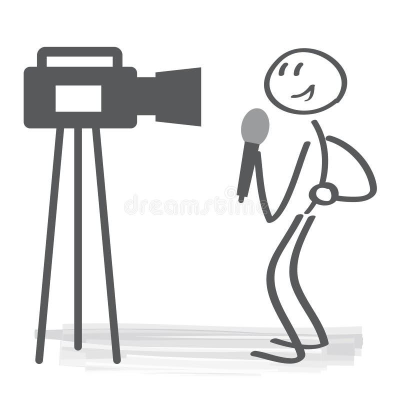 Concetto dell'illustrazione di vettore del giornalista di radiodiffusione illustrazione vettoriale