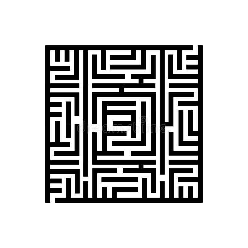 Concetto dell'illustrazione di vettore del labirinto quadrato del labirinto Icona su priorità bassa bianca illustrazione vettoriale