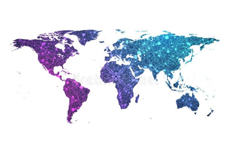 Concetto dell'illustrazione di vettore della mappa di mondo della particella del plesso royalty illustrazione gratis