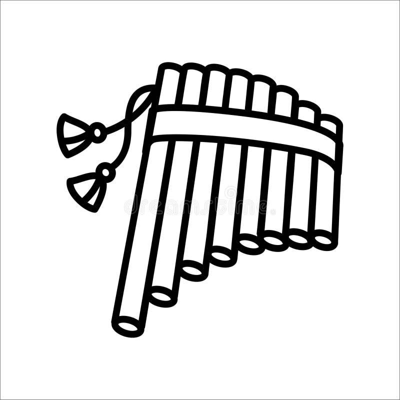Concetto dell'illustrazione di vettore dello strumento di musica armonico della flauto Il nero su fondo bianco illustrazione di stock
