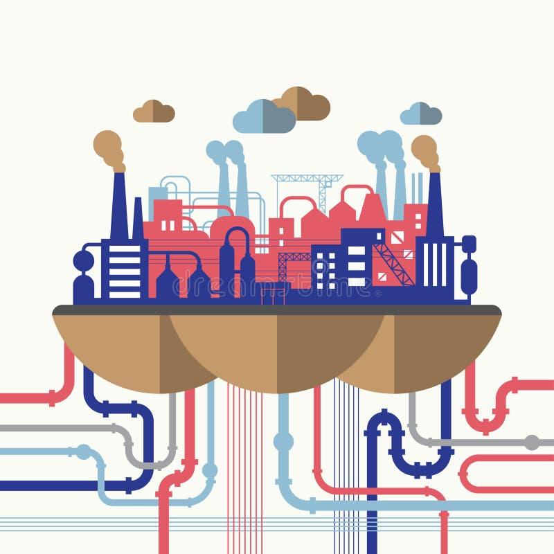 Concetto dell'illustrazione di vettore di inquinamento della natura illustrazione vettoriale