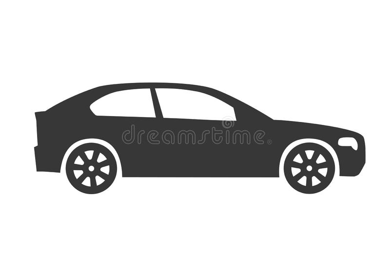 Concetto dell'illustrazione di vettore di vista laterale dell'icona dell'automobile illustrazione di stock