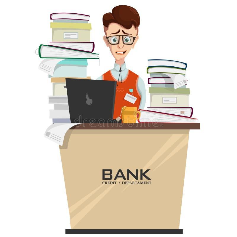 concetto dell'impiegato della banca con il mucchio di lavoro illustrazione di stock