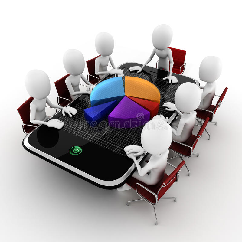 concetto dell'incontro di affari dell'uomo 3d illustrazione vettoriale