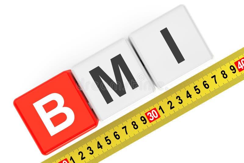 Concetto dell'indice di massa corporea Cubi di BMI con nastro adesivo di misurazione immagine stock