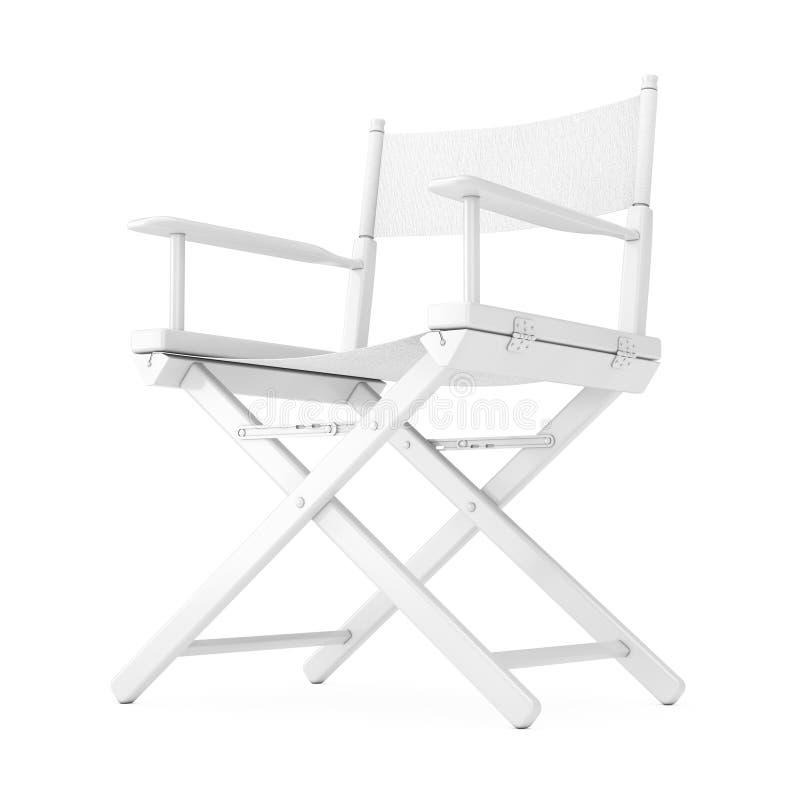 Concetto dell'industria cinematografica Direttore di legno bianco Chair in Clay Style rappresentazione 3d royalty illustrazione gratis
