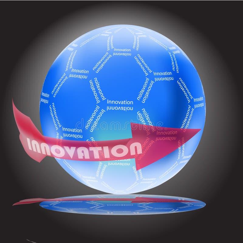 Concetto dell'innovazione con il globo lucido illustrazione di stock