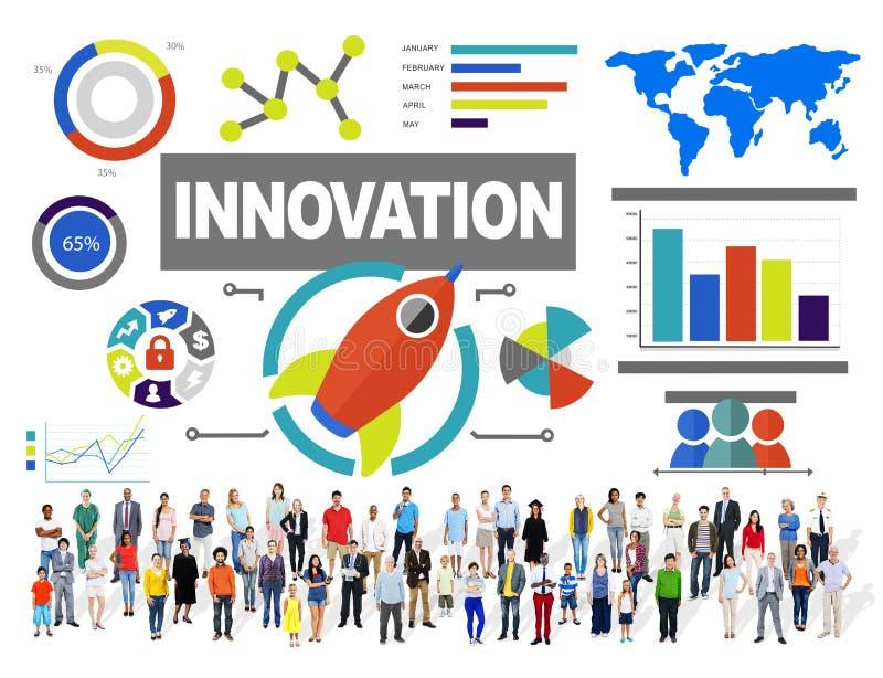 Concetto dell'innovazione di successo di crescita di creatività di unità della gente immagini stock