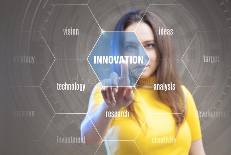 Concetto dell'innovazione presentato da un consulente in gestione fotografia stock