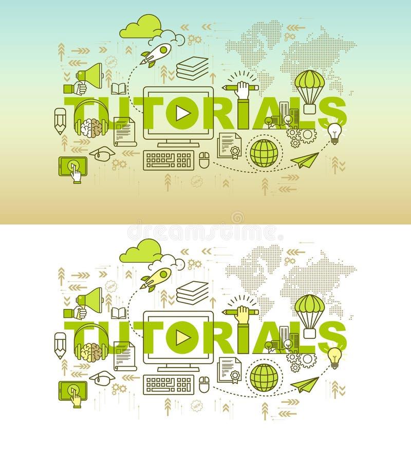 Concetto dell'insegna della pagina Web di esercitazioni con la linea sottile progettazione piana illustrazione vettoriale