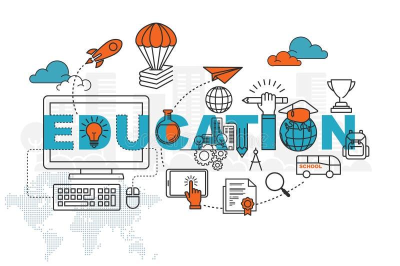 Concetto dell'insegna della pagina Web di istruzione con la linea sottile progettazione piana royalty illustrazione gratis