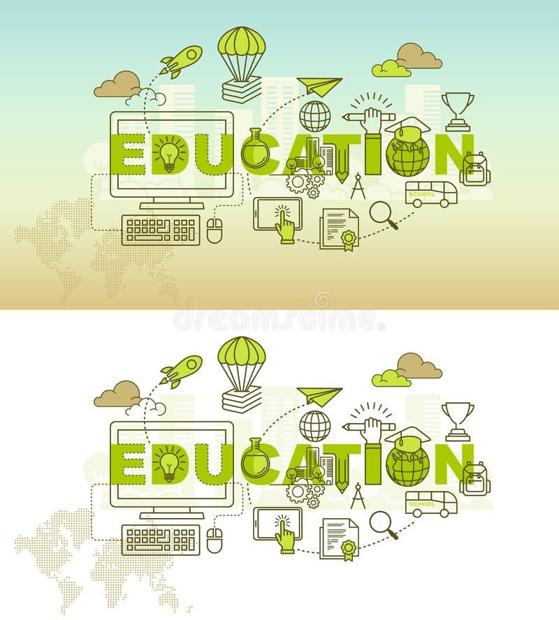 Concetto dell'insegna della pagina Web di istruzione con la linea sottile progettazione piana illustrazione vettoriale