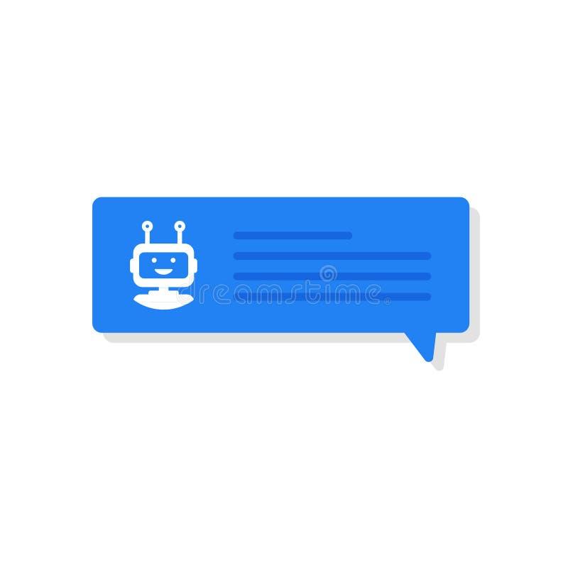 Concetto dell'insegna di Chatbot Utente che chiacchiera con il chatbot nell'applicazione mobile Illustrazione di vettore illustrazione vettoriale