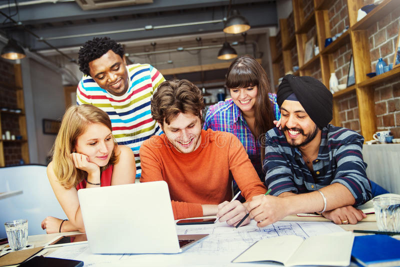 Concetto dell'interno di Teamwork Brainstorming Planning del progettista immagini stock