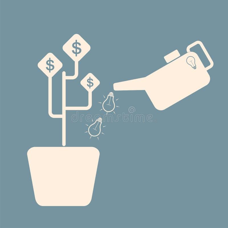 Concetto dell'investimento Albero d'innaffiatura dei soldi dell'investitore Affare gr royalty illustrazione gratis