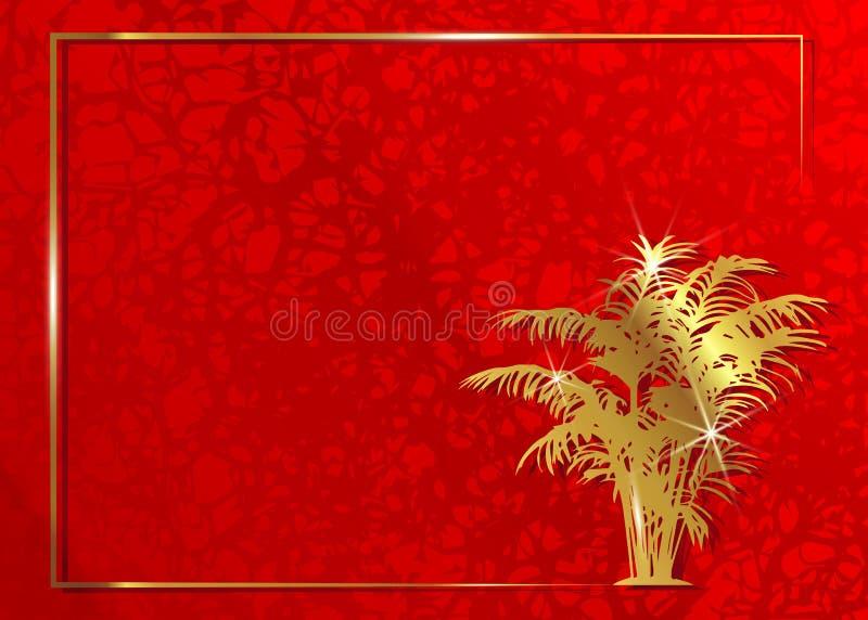 Concetto dell'invito della carta del tappeto rosso Struttura esotica floreale dell'oro e fondo rosso Accademia dei premi della st illustrazione vettoriale