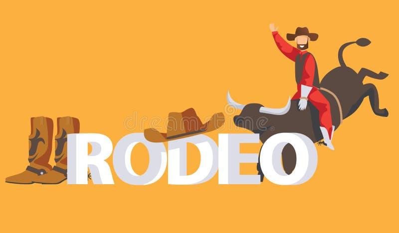 Concetto dell'iscrizione del rodeo Cowboy sul toro, sugli stivali e sul cappello su fondo giallo illustrazione vettoriale