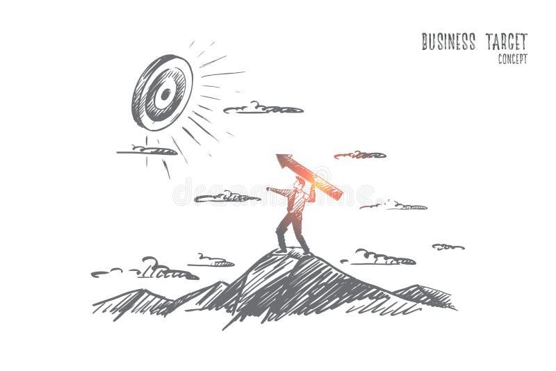 Concetto dell'obiettivo di affari Vettore isolato disegnato a mano illustrazione di stock