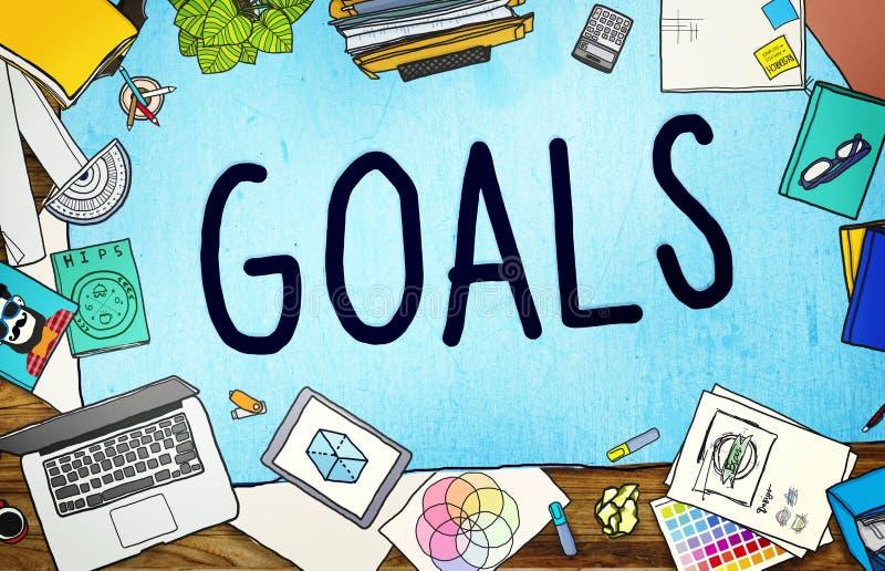 Concetto dell'obiettivo di anticipazione di aspirazione di scopo di scopi illustrazione di stock