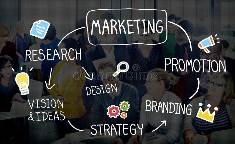 Concetto dell'obiettivo di visione di informazioni di affari di strategia di marketing immagine stock