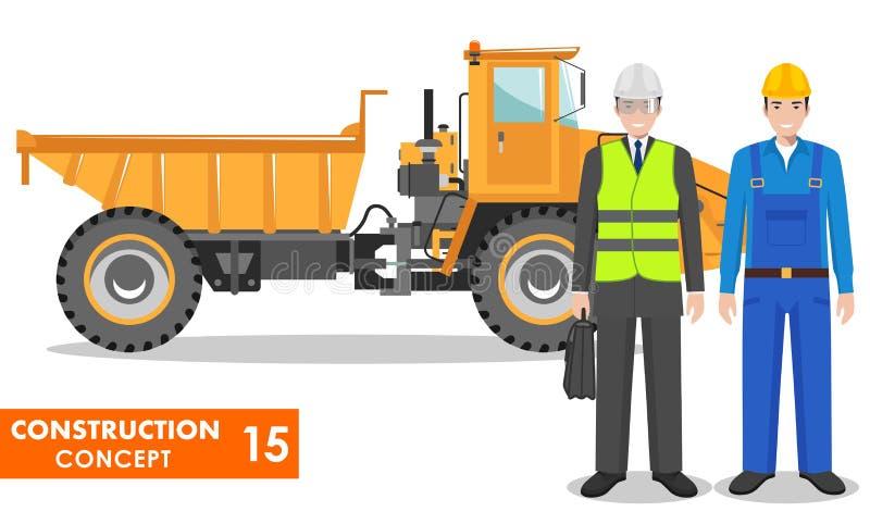 Concetto dell'operaio Illustrazione dettagliata del camion dell'operaio, del driver, del minatore, del costruttore, dell'ingegner royalty illustrazione gratis