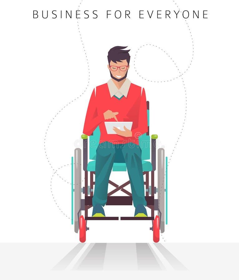 Concetto dell'uomo con le inabilità che lavorano con la compressa royalty illustrazione gratis