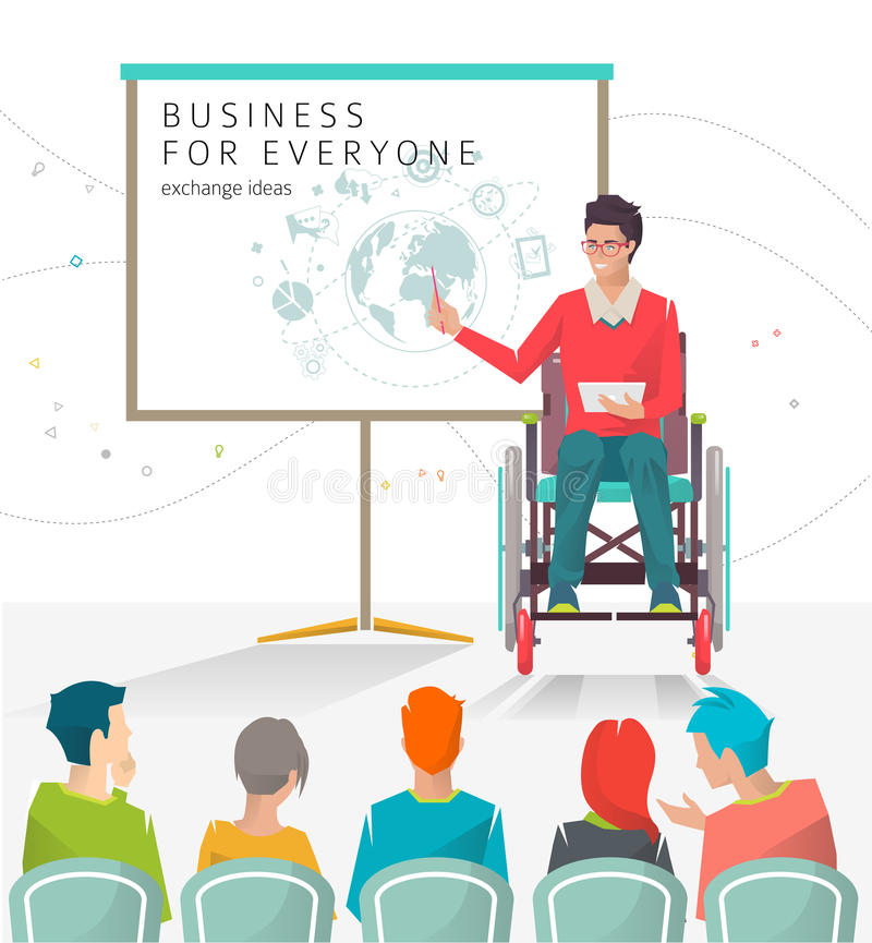 Concetto dell'uomo con le inabilità che tengono presentazione illustrazione di stock