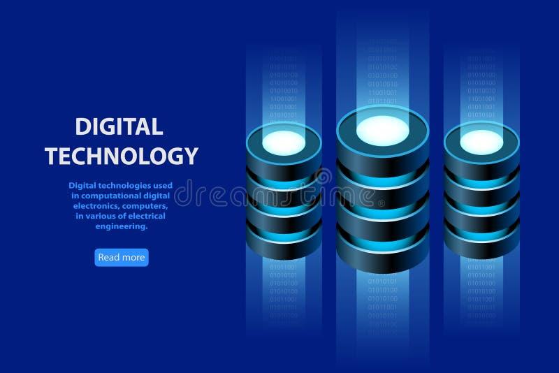Concetto della base di informazioni isometrica, web hosting royalty illustrazione gratis
