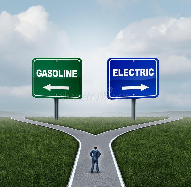 Concetto della benzina o elettrico illustrazione di stock