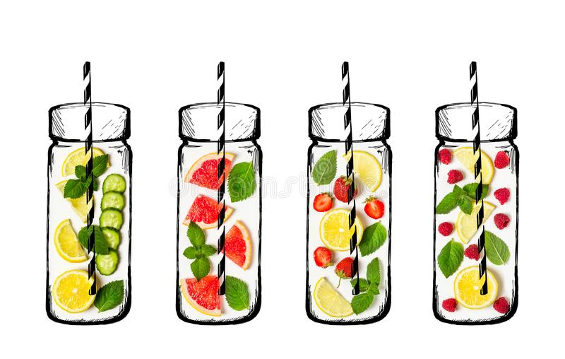 Concetto della bevanda di estate Ingredienti per limonata Frutta fresca e illustrazione di stock