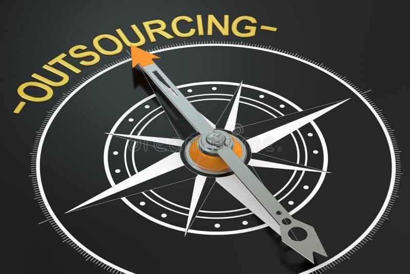 Concetto della bussola di esternalizzazione illustrazione vettoriale