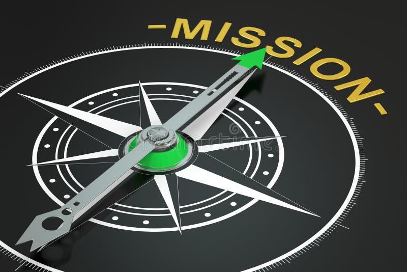 Concetto della bussola di missione, 3D illustrazione vettoriale