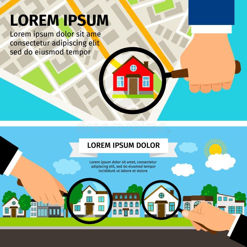 Concetto della Camera di ricerca Lente d'ingrandimento scelta con il bene immobile e la mappa delle case illustrazione vettoriale
