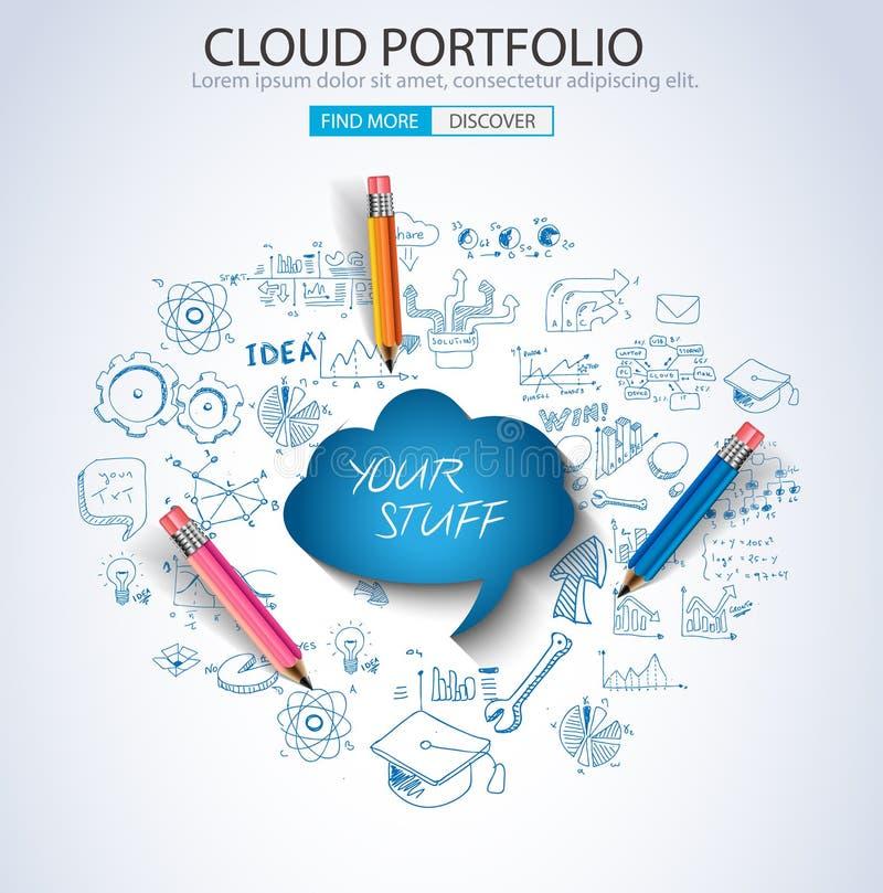 Concetto della cartella della nuvola con stile di progettazione di scarabocchio illustrazione vettoriale