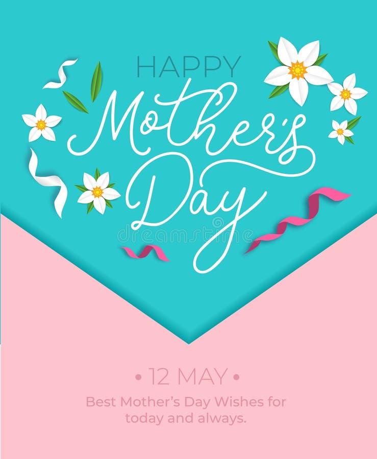 Concetto della cartolina d'auguri di giorno del ` s della madre Illustrazione di vettore con i nastri ed i fiori per la cartolina illustrazione vettoriale