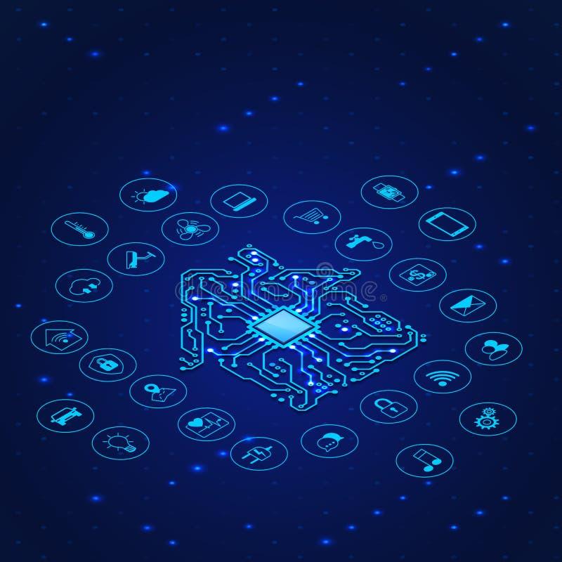 Concetto della casa intelligente Siluetta della casa del circuito ed icone del sistema a distanza del controle Illustrazione di v royalty illustrazione gratis