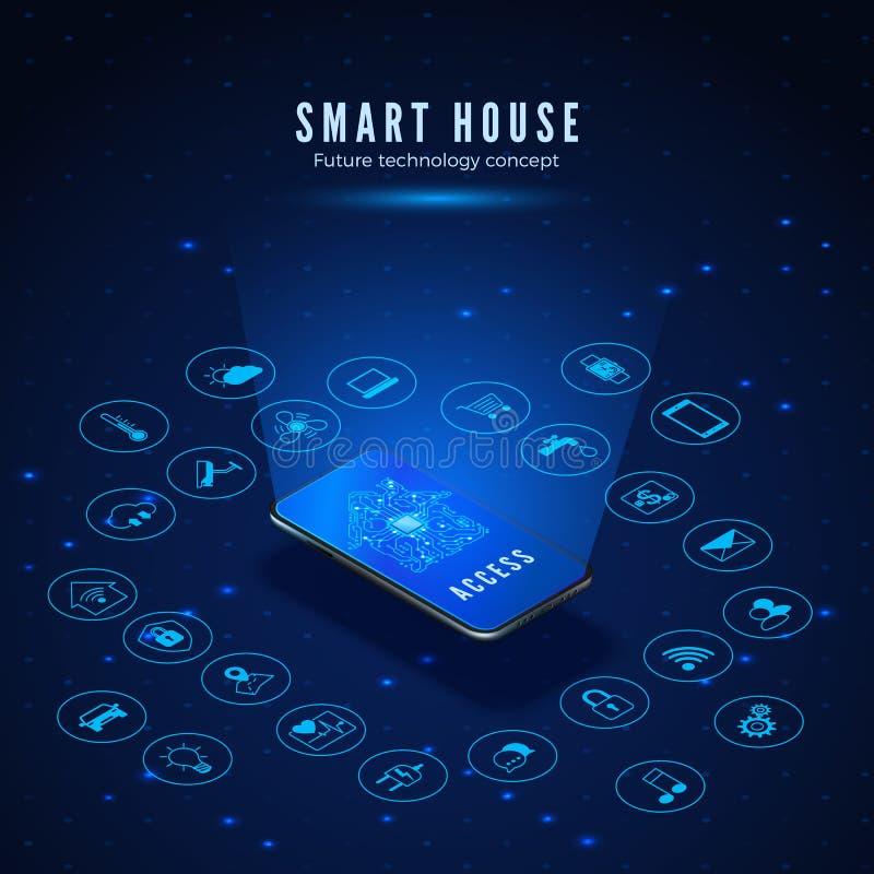 Concetto della casa intelligente Smartphone con la siluetta del circuito della Camera sull'insieme delle icone e dello schermo r illustrazione di stock