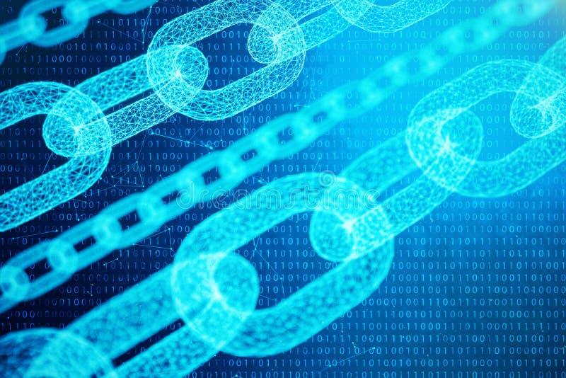 Concetto della catena di blocco, tecnologia digitale della catena di blocco Cryptocurrency, concetto del codice digitale Rete dei illustrazione di stock