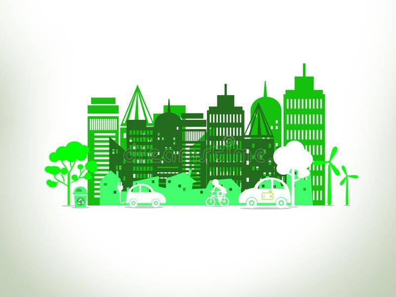 Concetto della città di Eco su fondo bianco illustrazione di stock