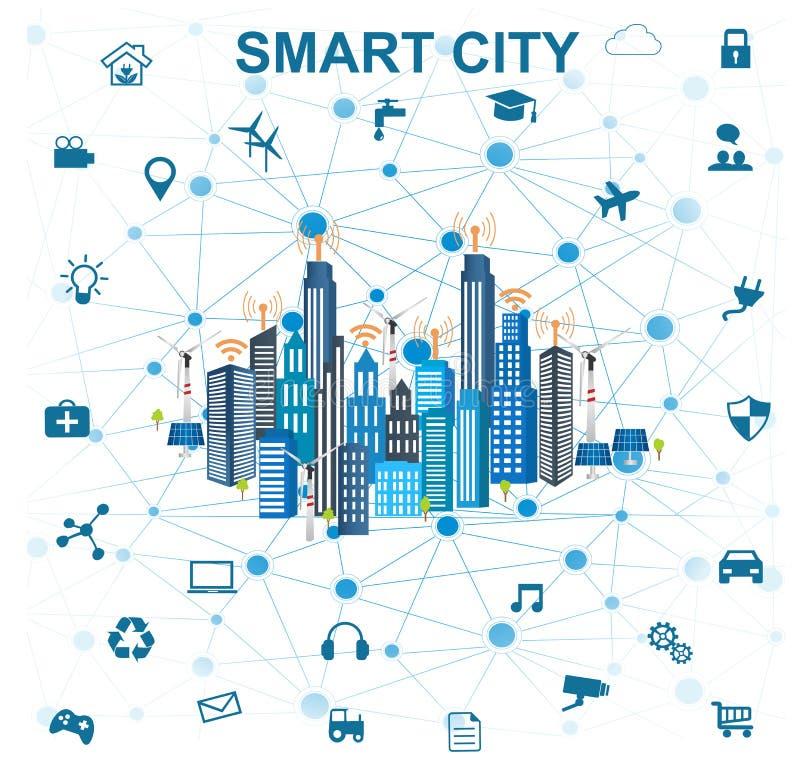 Concetto della città e Internet astuti delle cose illustrazione vettoriale