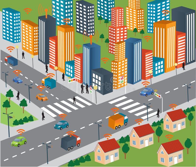Concetto della città e rete wireless astuti del veicolo illustrazione vettoriale