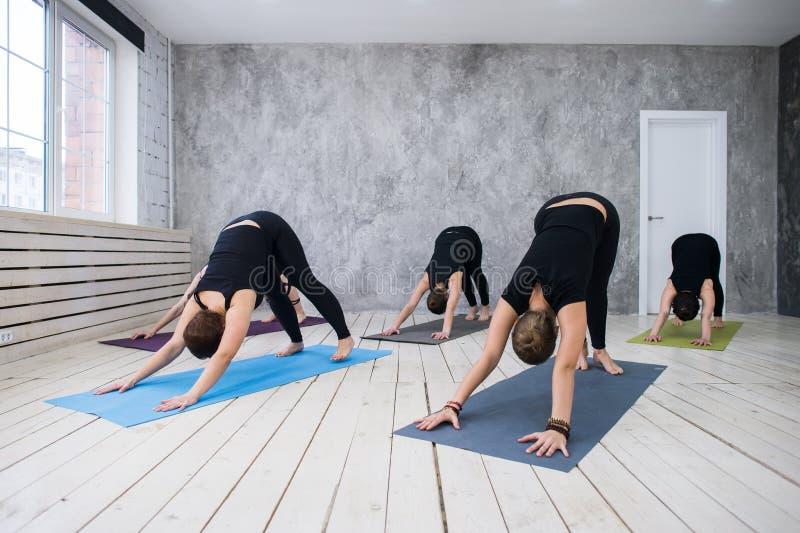 Concetto della classe di esercizio di pratica di yoga immagine stock