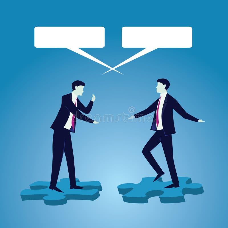 Concetto della comunicazione globale di affari Parlare degli uomini d'affari Vec illustrazione di stock