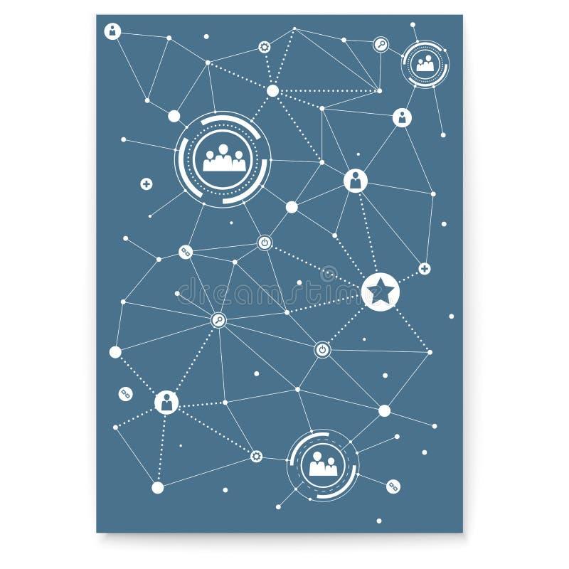 Concetto della copertura Rete sociale di media Tecnologia della comunicazione, organizzazione della rete sociale Manifesto con gl illustrazione di stock