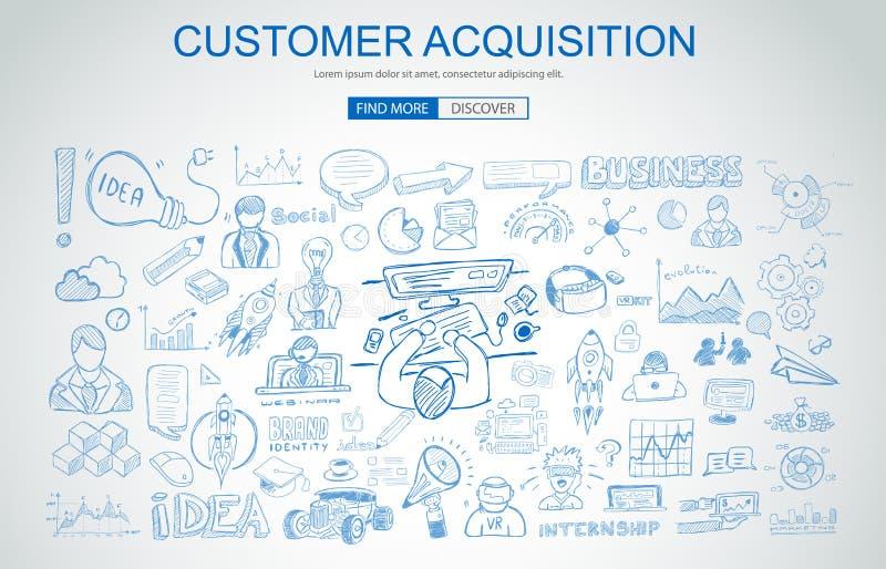 Concetto della costruzione di marca con stile di progettazione di scarabocchio di affari: compan illustrazione di stock