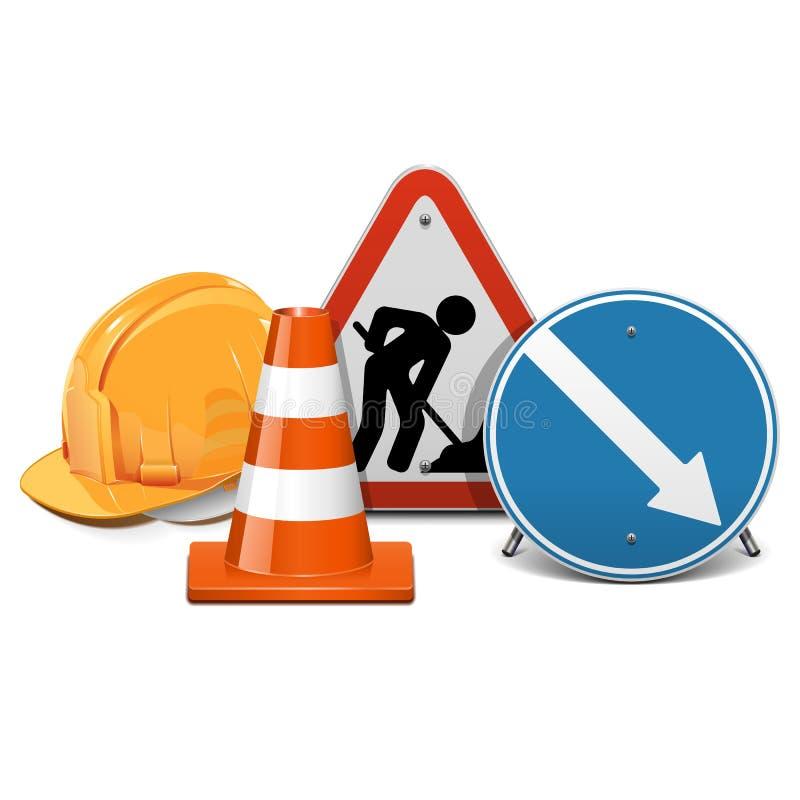 Concetto della costruzione di strade di vettore illustrazione di stock