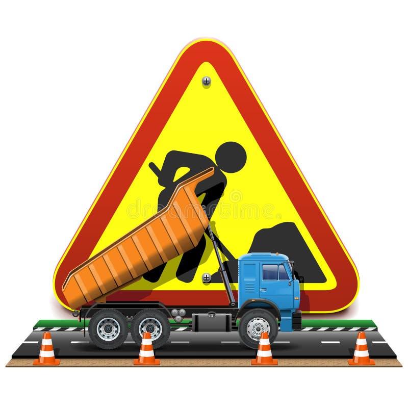 Concetto della costruzione di strade di vettore con il camion royalty illustrazione gratis