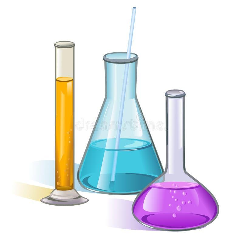 Concetto della cristalleria delle boccette del laboratorio illustrazione di stock